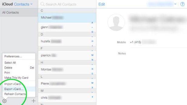 Export iCloud Contacts